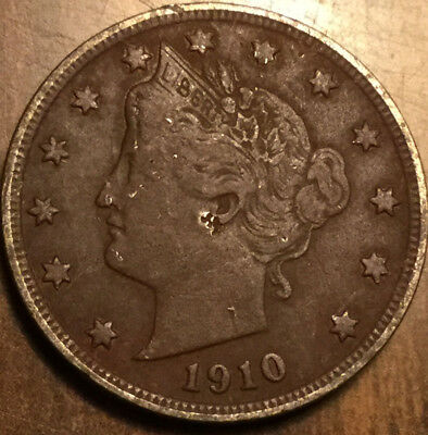 1910 USA LIBERTY 5 CENTS NICKEL - a dark example but with good details !