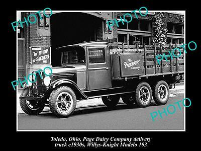 OLD LARGE HISTORIC PHOTO OF PAGE DAIRY Co TRUCK, TOLEDO OHIO 1930s WILLYS KNIGHT