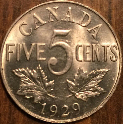 1929 Canada 5 Cents Best Of Circulated Condition !!