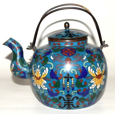 Rare CHINESE QING DYNASTY TONG SHUN TANG CLOISONNE TEAPOT- Excellent Condition!