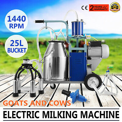 Electric Milking Machine For Goats Cows W/Bucket Adjustable Vacuum Pump Milker