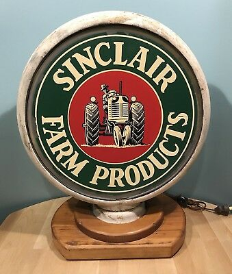 Antique 40's Sinclair Farm Products Metal Globe Body W/ Flat Glass Decals