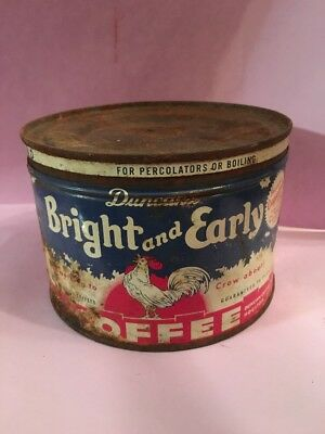 VINTAGE BRIGHT and EARLY COFFEE TIN - 1 POUND