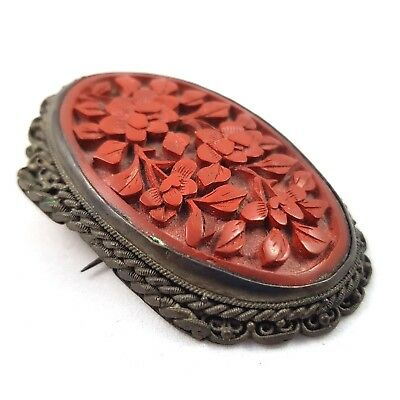 Antique Chinese Cinnabar Lacquer Brooch