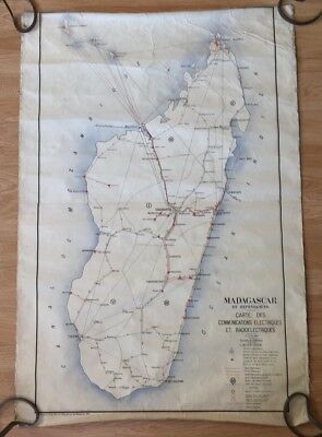 1929 Madagascar Electronic Communications Radioelectriques Map Chart 44X30