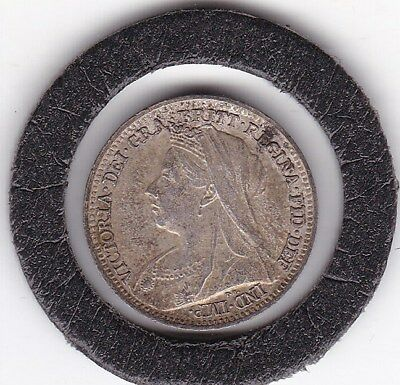 Excellent  1898   Queen  Victoria  Threepence  (3d)  Solid Silver (92.5%) Coin