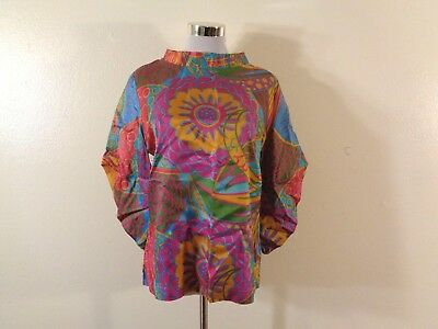 60s PSYCHEDELIC MOD TURQUOISE PINK FLORAL SILKY PRINT COWL NECK BELL SLEEVE TOP