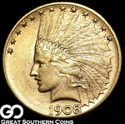 1908-D Gold Eagle, $10 Gold Indian ** Free Shipping!