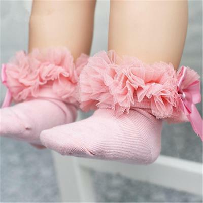 Toddler Baby Kids Girl Princess Bowknot Warm Sock Lace Cotton Ankle Socks Pink M
