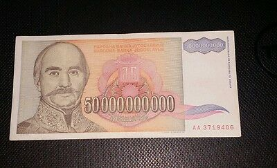 YUGOSLAVIA 50 BILLION DINARS 1993 Circulated Hyperinflation Bank Note
