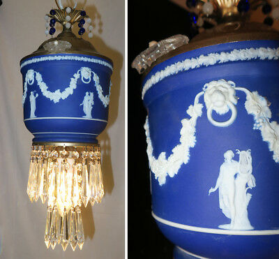 Wedgwood Porcelain brass crystal hanging swag lamp Lady Neoclassical cameo