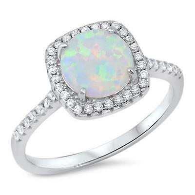 Ladies Simulated White Opal Ring  STERLING SILVER Ring ~ Size  8 9 10 / Q S U