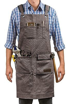 Waxed Canvas Tool Work Shop Apron Heavy Duty Woodworking Welding Workshop M-XXL