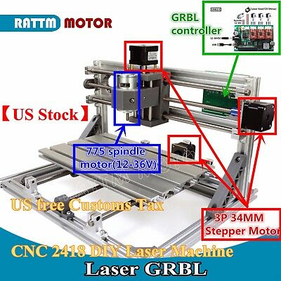 【US Stock】3 Axis USB 2418 GRBL Control mini DIY CNC Router Milling Laser Machine