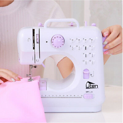 Sewing Machine 12 Stitches Mini Household Overlock Multifunction Winding + Light