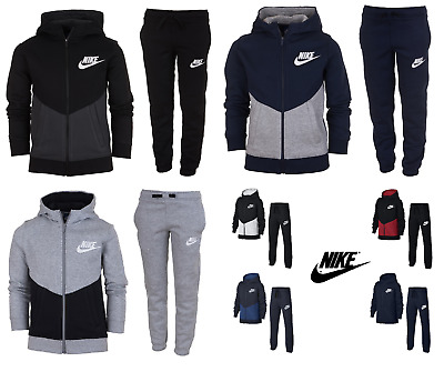 Nike Boys Kids Fleece Tracksuit Jogging Bottoms Hoodie Jacket Top Training Pants