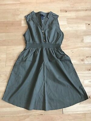 H&m mama khaki maternity dress size small uk 10 100% cotton