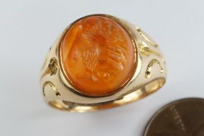 ANTIQUE 15K GOLD SIGNET RING w/ ANCIENT ROMAN WOLF ROMULUS / REMUS INTAGLIO SEAL
