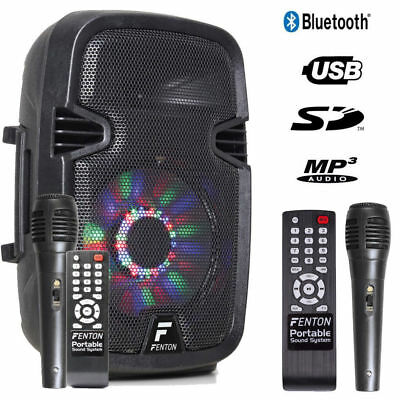 "Mobile Akku Box Sound Anlage ""FT8LED"" Mit Mikrofon, LED, SD USB MP3, Bluetooth!"