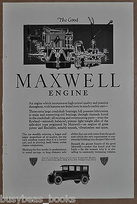 1923 MAXWELL advertisement, Engine sectional view, Maxwell Motor Corp