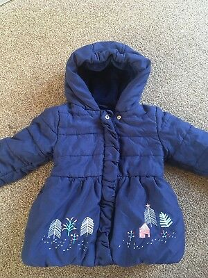 M&S Baby Girl Navy Winter Coat 12-18 Months