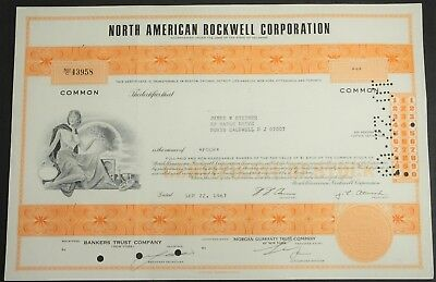 ETATS-UNIS Action NORTH AMERICAN ROCKWELL CORP. 4 Shares 1967