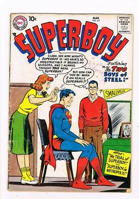 Superboy # 63 The Trial of Superboy ! grade 3.0 scarce book !!