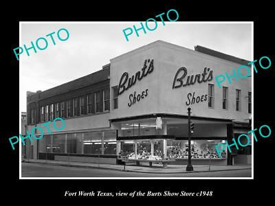 OLD LARGE HISTORIC PHOTO OF FORT WORTH TEXAS, VIEW OF BURTS SHOE STORE c1948