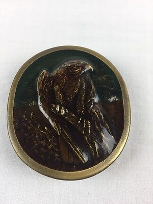 Indiana Metal Craft Brass Belt Buckle, Peregrine Falcon, 1977, USA, R97