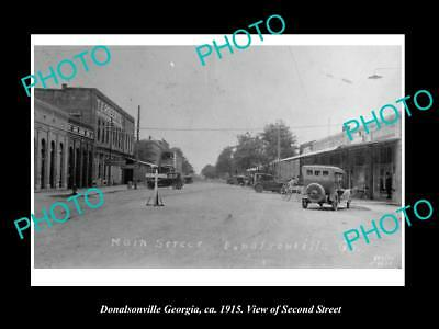 OLD LARGE HISTORIC PHOTO OF DONALSONVILLE GEORGIA, VIEW OF THE MAIN STREET c1915