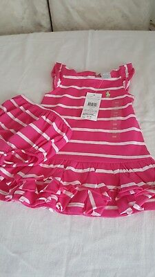 Ralph Lauren Baby Girl Dress &pantie Size 9 Mths New With Tags