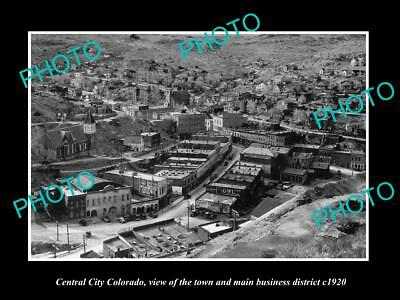 OLD LARGE HISTORIC PHOTO OF CENTRAL CITY COLORADO, VIEW OF THE MAIN STREET c1920