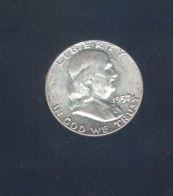 Choice Uncirculated 1957-P  90% Silver Franklin Half Dollar, Free USA Shipping