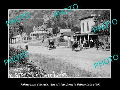 OLD LARGE HISTORIC PHOTO OF PALMER LAKE COLORADO, VIEW OF THE MAIN STREET c1900
