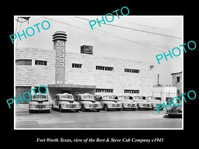 OLD LARGE HISTORIC PHOTO OF FORT WORTH TEXAS, THE BERT & STEVE CAB COMPANY c1945