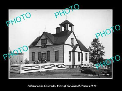 OLD LARGE HISTORIC PHOTO OF PALMER LAKE COLORADO, VIEW OF THE SCHOOL HOUSE c1890