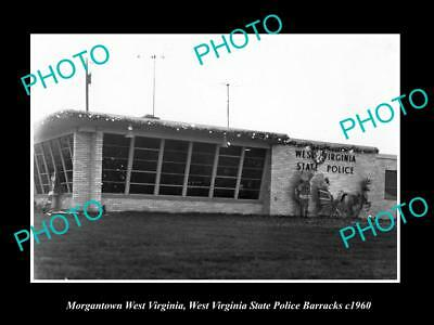 OLD HISTORIC PHOTO OF MORGANTOWN WEST VIRGINIA, THE STATE POLICE BARRACKS c1960