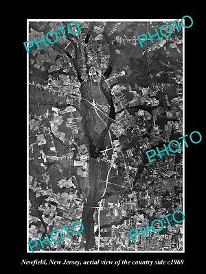 OLD LARGE HISTORIC PHOTO OF NEWFIELD NEW JERSEY, AERIAL VIEW OF THE AREA c1960