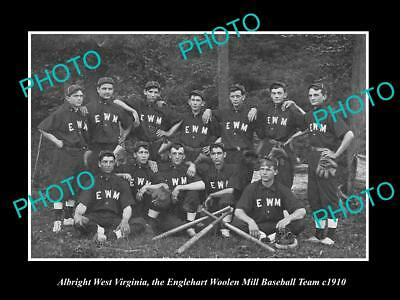 Old Large Historic Photo Of Albright West Virginia, Wool Mill Baseball Team 1910