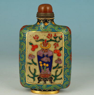 Rare Chinese Old Cloisonne Buddha Blessing Flower Statue Snuff Bottle