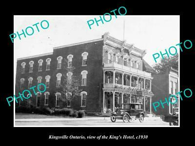 OLD LARGE HISTORIC PHOTO OF KINGSVILLE ONTARIO, VIEW OF THE KINGS HOTEL c1930