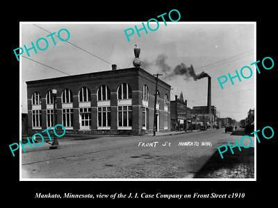 OLD LARGE HISTORIC PHOTO OF MANKATO MINNESOTA, THE CASE Co & FRONT STREET c1910