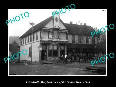 OLD LARGE HISTORIC PHOTO OF FRIENDSVILLE MARYLAND, THE CENTRAL HOTEL c1910