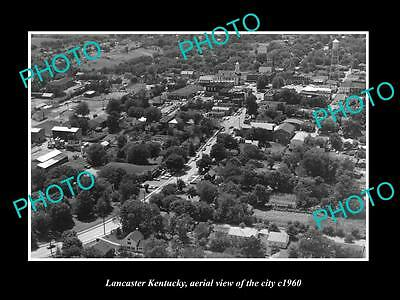 OLD LARGE HISTORIC PHOTO OF LANCASTER KENTUCKY, AERIAL VIEW OF THE CITY c1960