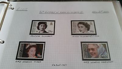 British Indian Ocean Territory 2006 Sg 348-351 80Th Birthday Of Queen Mnh