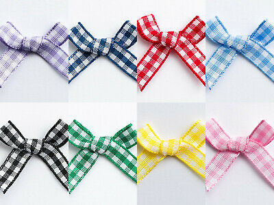 3cm Gingham Ribbon Bow - 100 Pack Wedding Favour Craft