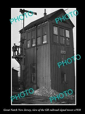 OLD HISTORIC PHOTO OF GREAT NOTCH NEW JERSEY, THE GR RAILROAD SIGNAL TOWER c1930