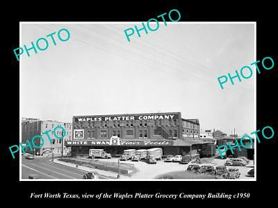 OLD LARGE HISTORIC PHOTO OF FORT WORTH TEXAS, THE WAPLES PLATTER GROCERIES c1950