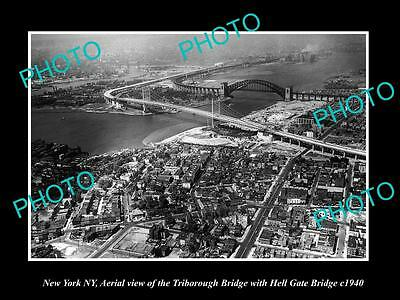 OLD LARGE HISTORIC PHOTO OF NEW YORK NY, AERIAL VIEW OF HELL GATE BRIDGE c1940