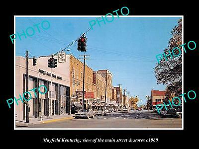 OLD LARGE HISTORIC PHOTO OF MAYFIELD KENTUCKY, THE MAIN STREET & STORES c1960